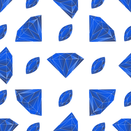 sapphires: Seamless pattern with volume blue diamonds or sapphires on the white background. Vector illustration for wedding design, textile, royal invitation card, wallpaper, packaging. Illustration