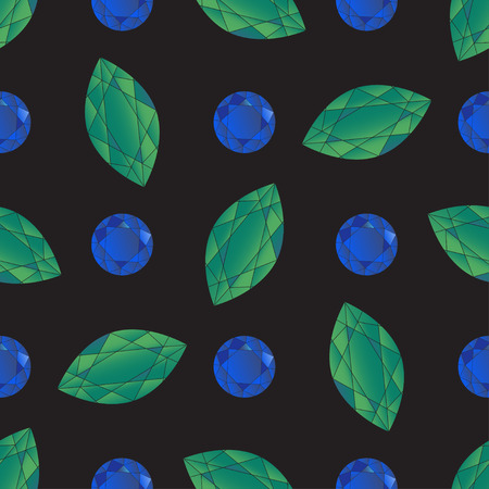 Seamless pattern with volume green and blue crystals of sapphires and emeralds on the black background. Vector illustration for wedding design, textile, royal invitation card, wallpaper, packaging.
