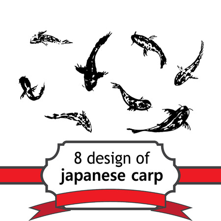 gohua: set of 8 japanese fish of carp for design in chinese or japanese style. Vector asian design for textile, wallpaper, package, coloring, card, postcard