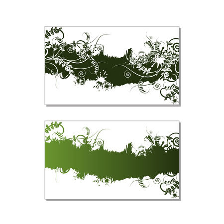 splashed: Two green abstract floral card with fresh vetch, grass, swirls and ink splashed. Design for ecology invitation card, wedding, stickers, healthy card, greeting