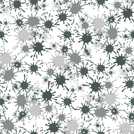 paint drop: Seamless pattern with gray paint spots ink splashes. Grunge drop blot dirty messy. Vector illustration for textile, print, wallpapers, packaging Illustration