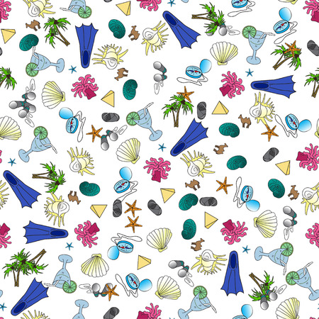 polyps: Seamless pattern with doodle hand drawn marine deep-water turtle and seashell. Vector sea fauna for children textile. packaging, walpaper, fabric