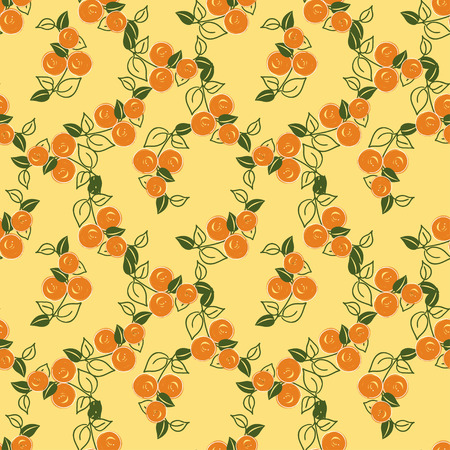 cushions: seamless pattern with stylization branches of orange on the yellow background. Vector illustration for textile - pillow, cushions, covers, print designs and wallpapers, banners, fabric, packaging
