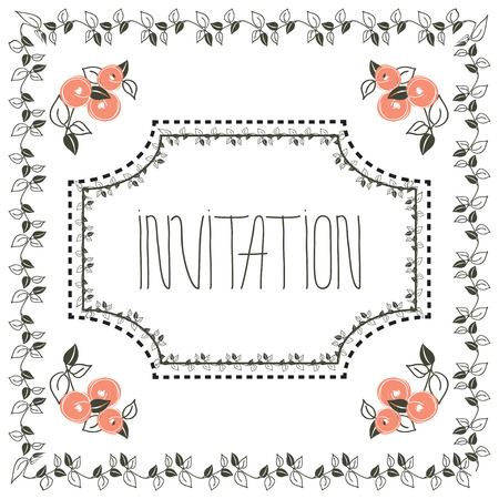 stylization: Stylization floral vintage invitation card with frame and peach and hand rdawing lettering - invitation. Design for card, postcard, concept, packaging, wedding design, healthy card, greeting