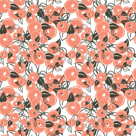 cushions: seamless pattern with stylization branches of peach. Vector illustration for textile - pillow, t-shirts, towels, cushions, covers, your print designs, wallpapers, banners, backgrounds, packaging Illustration