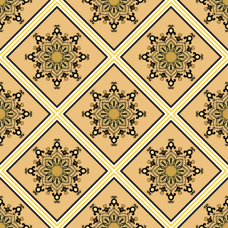 ochre: Seamless geometric pattern in ethnic oriental islamic style. Abstract golden and ochre background. Vector illustration in boho, vintage style for design of fabric, invitation card, textile, wallpaper