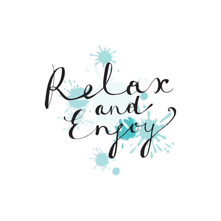 Hand drawn typography lettering phrase -Relax and enjoy- and doodle traveling elements on white background.Modern calligraphy for typography.Vector design for print, postcard, t-shirt, banner, sticker
