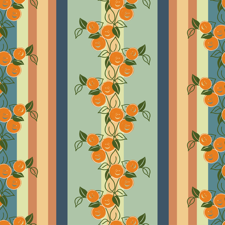 cushions: seamless pattern with stylization branches of orange on the striped background. Vector illustration for textile - pillow, cushions, covers, print designs and wallpapers, banners, fabric, packaging