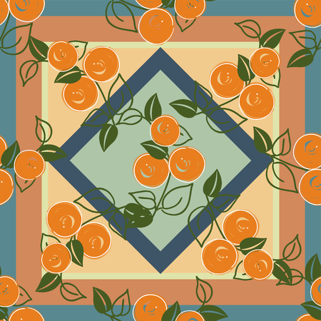 cushions: seamless pattern with stylization branches of orange on the geometric background. Vector illustration for textile - pillow, cushions, covers, print designs and wallpapers, banners, fabric, packaging