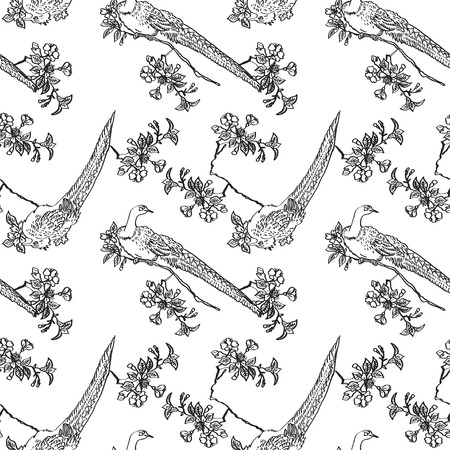 traditonal: Japanese traditonal seamless pattern with outline black birds and flowers of cherry on white background. Vector design for textile, wallpaper, fabric, packaging, coloring, covers and others Illustration