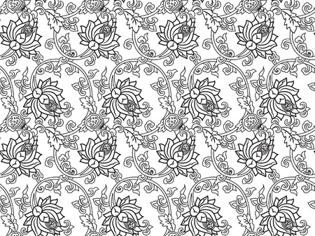 traditonal: Chinese traditonal seamless pattern with outline black flowers on white background. Vector design for textile, wallpaper, fabric, packaging, coloring, covers and others