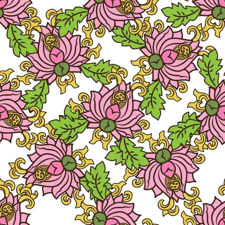 traditonal: Chinese traditonal seamless pattern with pink flowers on white background. Vector design for textile, wallpaper, fabric, packaging, covers and others