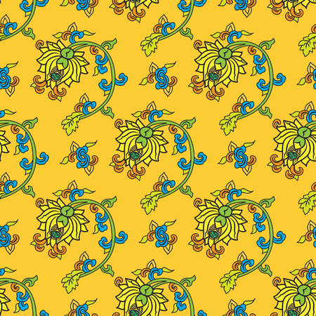 traditonal: Chinese traditonal seamless pattern with flowers on yellow background. Vector design for textile, wallpaper, fabric, packaging, covers and others Illustration