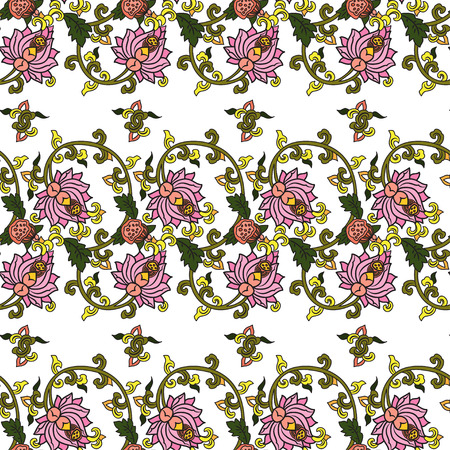 traditonal: Chinese traditonal seamless pattern with flowers on white background. Vector design for textile, wallpaper, fabric, packaging, covers and others