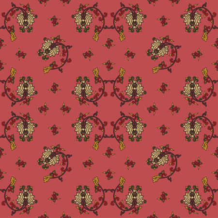 traditonal: Chinese traditonal seamless pattern with flowers on red background. Vector design for textile, wallpaper, fabric, packaging, covers and others