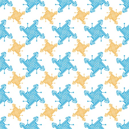 Seamless indian pattern with geometric ornate. Vector tradition ornament background. Boho apparel art, vintage design for fabric, textile, wallpapper, packaging and more.