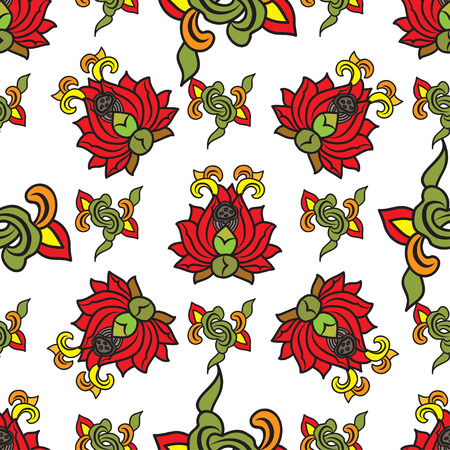 traditonal: Chinese traditonal seamless pattern with red flowers on white background. Vector design for textile, wallpaper, fabric, packaging, covers and others Illustration
