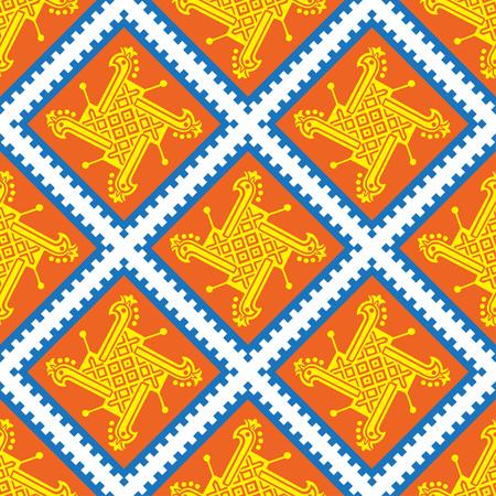 シームレスなインド パターン幾何学と華やかです。伝統の飾りのベクトルの背景。自由奔放に生きるアート、ファブリック、繊維、wallpapper、包装の  イラスト・ベクター素材