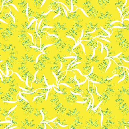 foliar: abstract foliar seamless pattern on yellow background. Ecological green design for postrcard, card, textile, wallpapers, packaging and other