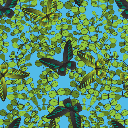foliar: abstract foliar seamless pattern with butterfly. Ecological green design for postrcard, card, textile, wallpapers, packaging and other