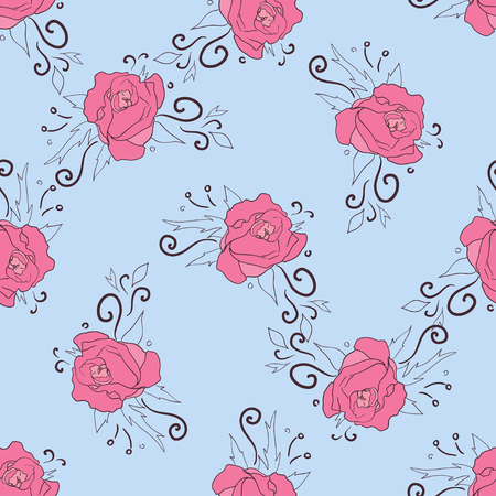 peon: Seamless pattern with pink peonies on blue background. Floral vintage design for wallpaper, fabric, card, packaging and decorative textile. Concept for womens day, birthday and other holidays Illustration