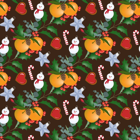Cristmas: Seamless pattern with Christmas bouquets, mandarins and snowmans. Design of wallpaper, fabric, card, packaging and decorative textile. Concept for Happy Thanksgiving, Merry Christmas, New year