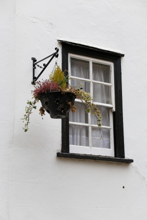 Black framed window on white wall with plants in hanging basket photo