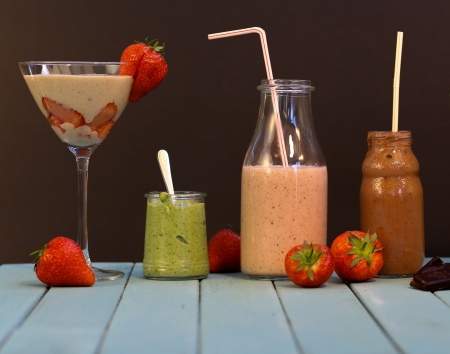 Strawberry, Spinach, Chocolate, Vanilla, Banana Smoothie photo