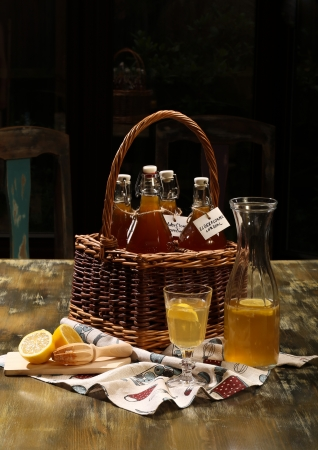 cordial: Elderflower cordial diluted with water and freshly served with lemon slices and lemon juice Stock Photo