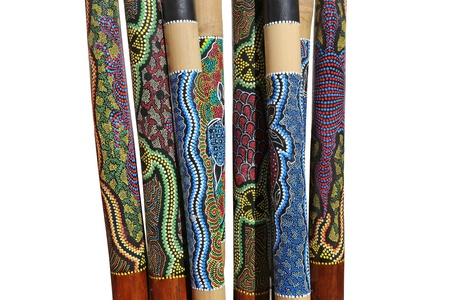 boomerangs: Group of Australian instruments Didgeridoo on white background