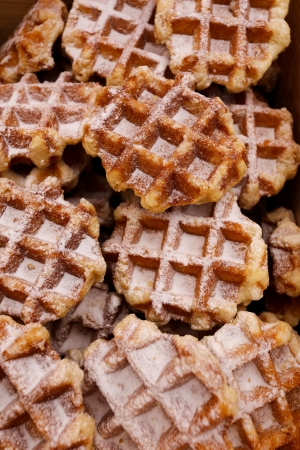 Plain Waffle with icing sugar in a wooden box