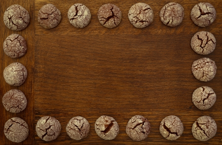 Chocolate cookies frame on wooden board Stock Photo