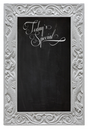 Elegant antique white picture frame with chalkboard  used as Today`s Special Stock Photo