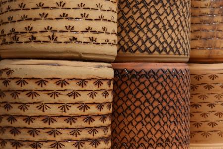 Rustic ceramic clay brown terracotta flower pots