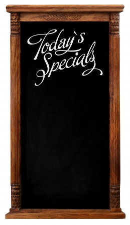 Elegant tool antique wooden picture frame chalkboard blackboard used as Today`s Specials isolated on a white background with copy space