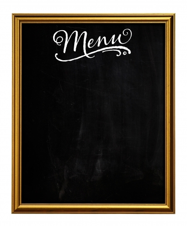 Golden Picture Frame Chalkboard Blackboard Used As Menu isolated on white background
