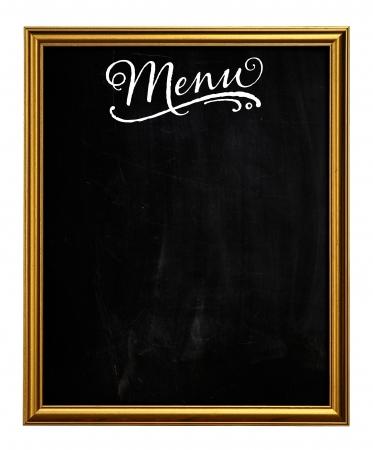 Goldene Bilderrahmen Tafel Blackboard Als Men� Gebrauchtwagen auf wei�em Hintergrund Lizenzfreie Bilder
