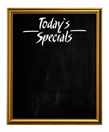 Golden Picture Frame Chalkboard Blackboard Used As Today s Specials isolated on white background