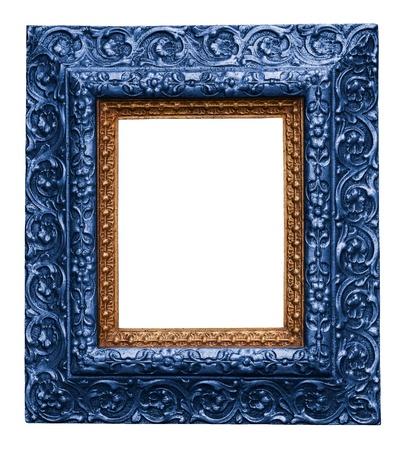 Blau antiken geschnitzten Bilderrahmen Isoliert Auf Wei�