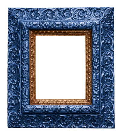Blue Antique Carved Picture Frame Isolated On White