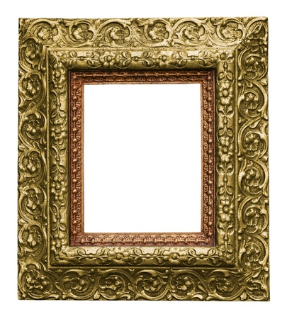Golden Antique Carved Picture Frame Isolated On White photo