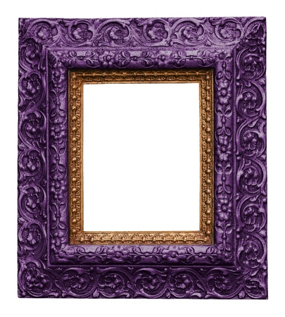 Purple Antique Carved Picture Frame Isolated On White photo