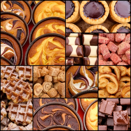 Turkish delight chocolate pistachio plain waffle chocolate custard cream tarts set collage collection black frame photo