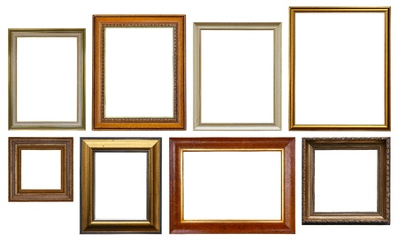 group picture: Group of Wooden Picture Frames Isolated On White Background - Copy Space Stock Photo