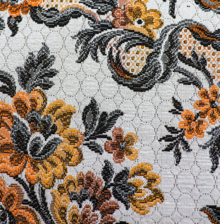 Fragment of retro fabric pattern with floral ornament photo