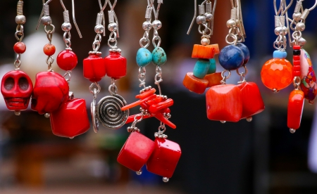 Colorful stone and silver jewellery earrings pendants Stock Photo