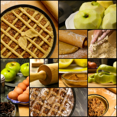 Set collage baking apple pie ingredients, eggs, green apples, lemon, cinnamon, butter, raisins, icing sugar, rolling pin, background collection black frame. Stock Photo - 22839613