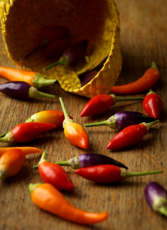 heatwave: Prairie fuego chile at�mica, Ola de calor chile, cesta de mimbre de color amarillo, mesa r�stica