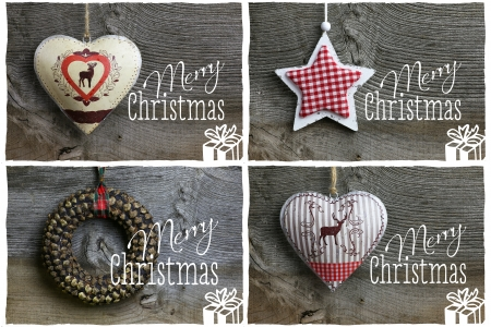 Merry Christmas message, handmade pinecone wreath decoration over rustic Elm wood background - retro style design, copy space Stock Photo