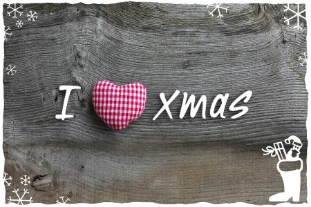 Handgemachte Weihnachtsdekoration karierte Stoff Herd �ber rustikale Elm Holz Hintergrund - Retro-Stil Design, Kopie, Raum Lizenzfreie Bilder